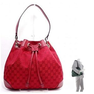Gucci GG Drawstring Canvas and Leather Bag